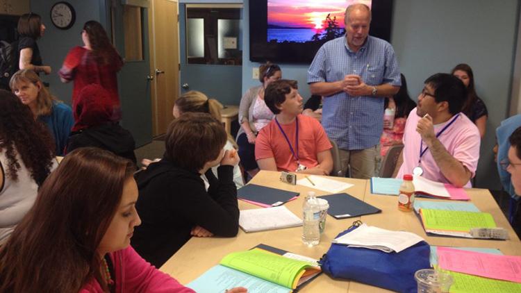 students and instructor in Upward Bound summer program