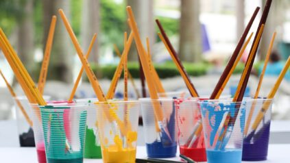 Paintbrushes in a cup