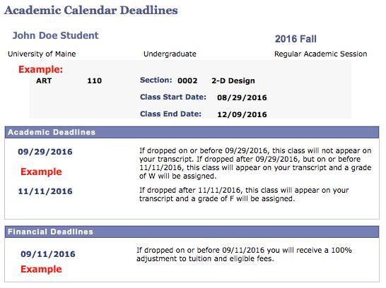 academic calendar deadlines screenshot