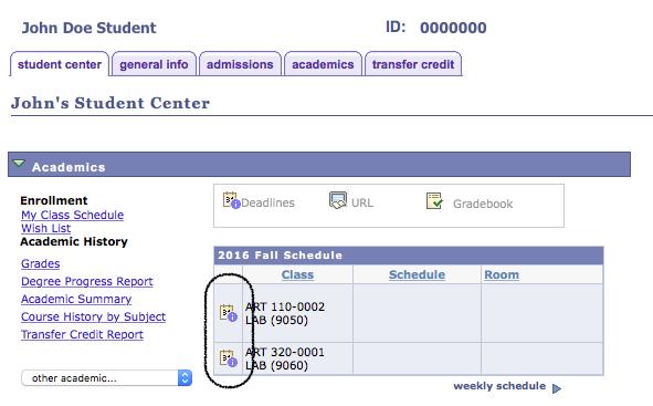 student center icon location screenshot