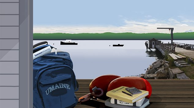 Summer University 2018 poster depicting coastal scene with backpack and books on dock