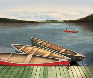 Summer University 2020 poster depicting canoes on the lake at Bryant Pond