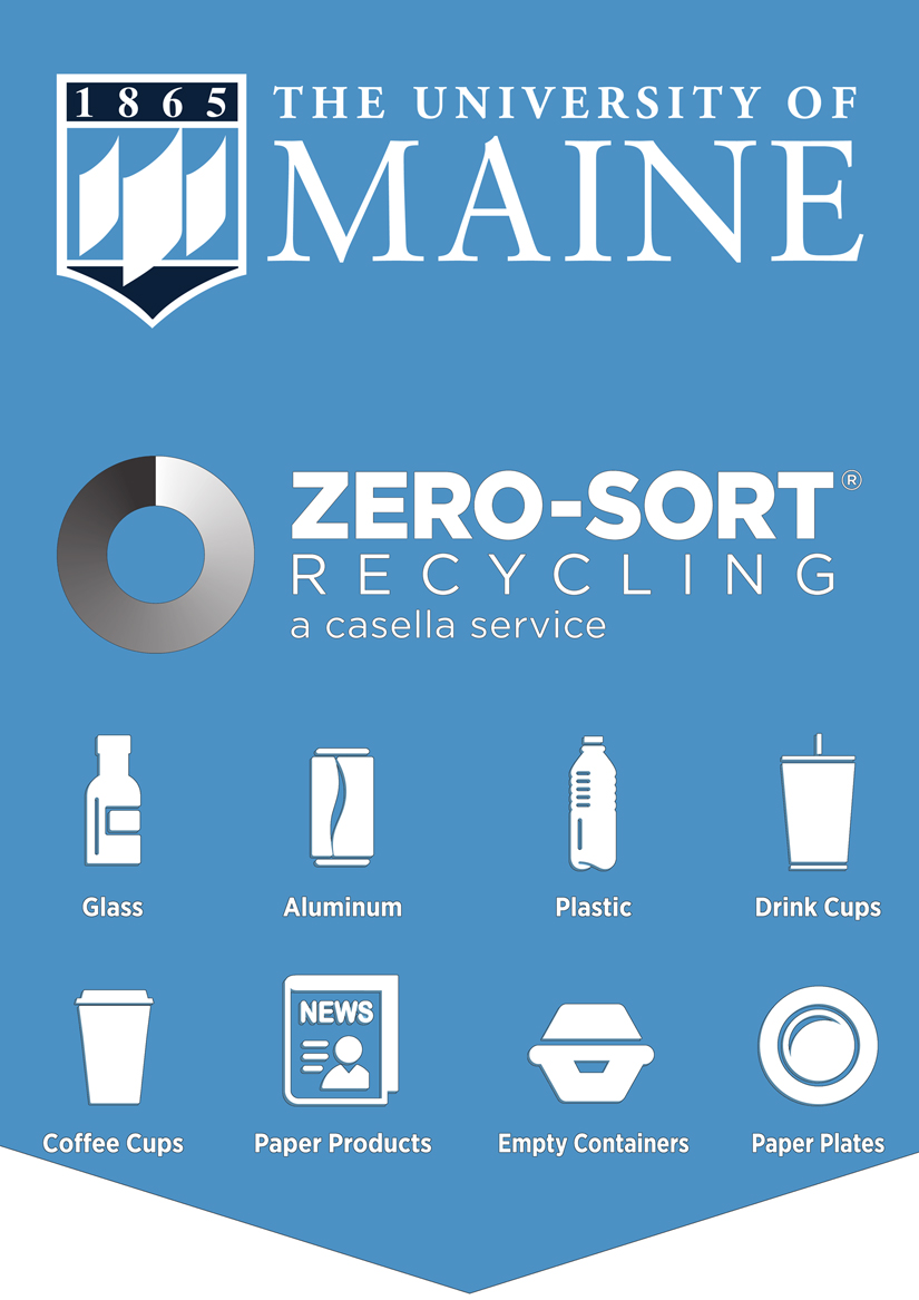 University of Maine Zero Sort sign with icons on recyclable items