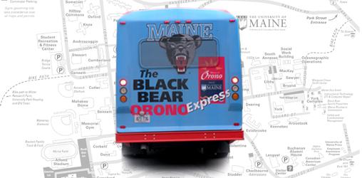 Black Bear Orono Express shuttle overlayed on map