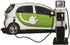 electric vehicle with plug