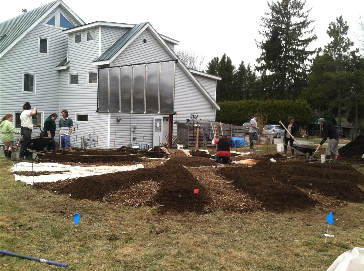 people working on permaculture plots at Terrell House