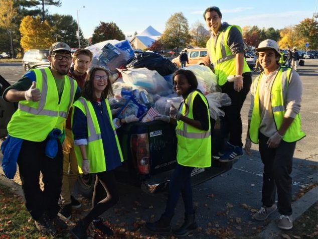 Green Team Members help recover Zero-Sort Recycling Materials from Homecoming 2016