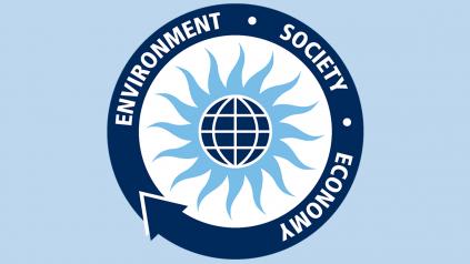 UMaine Sustainability logo on blue background