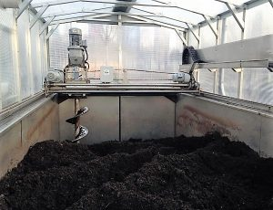 Inside of UMaine Earth Flow in-vessel composter