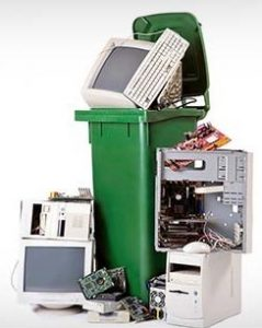 recycling can full of e-waste
