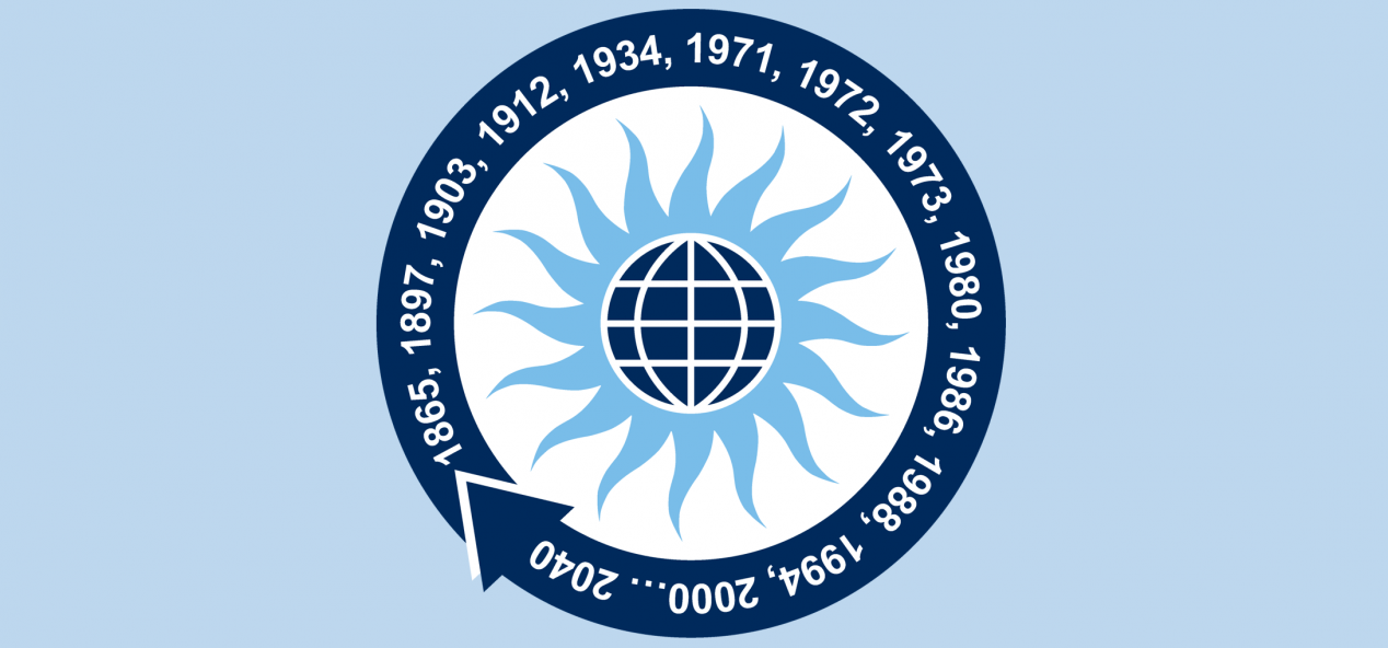 Office of Sustainability timeline logo on a blue banner