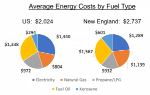 Average energy costs by fuel type