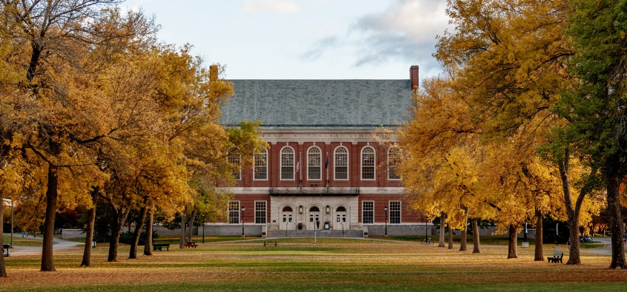Fogler Library and the mall in the fall.