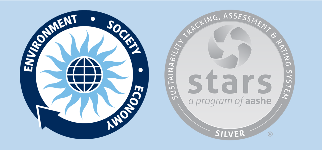 Banner for UMaine's Sustainability commitment, containing the Office of Sustainability Logo and the STARS Silver Seal