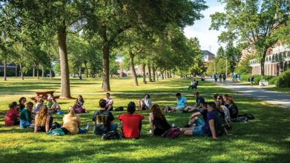 Students attend class on the Mall at UMaine