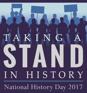 """Official 2017 Maine National History Day logo with the theme """"Taking A Stand in History."""""""
