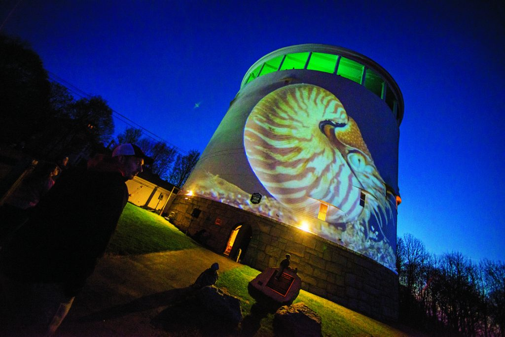 Thomas Hill Standpipe in Bangor with projected images accompanying music by Prof. Gene Felice and his students. Supported by a UMHC sponsorship grant.