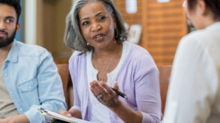 Mental health professional leads support group
