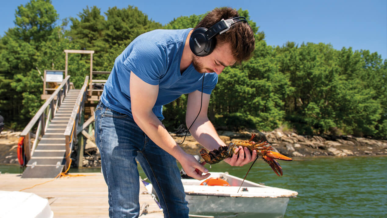 Man holds lobster