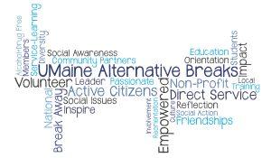 A word jumble regarding Maine alternative breaks.