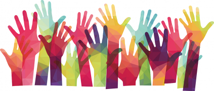Multicolored helping hands