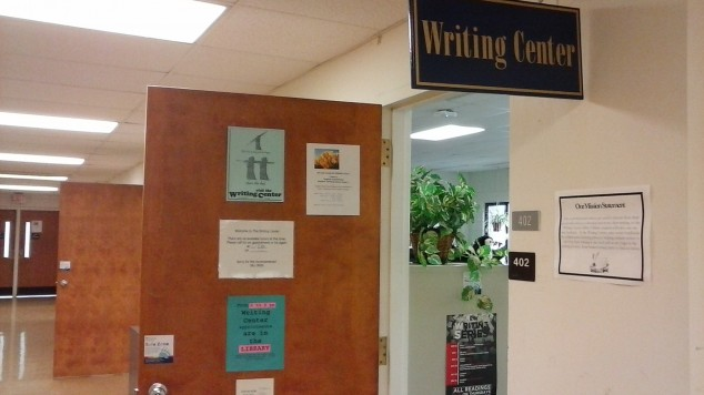 Photo of Writing Center door and sign