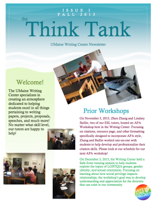 Think Tank, the UMaine Writing Center Newsletter Fall 2015