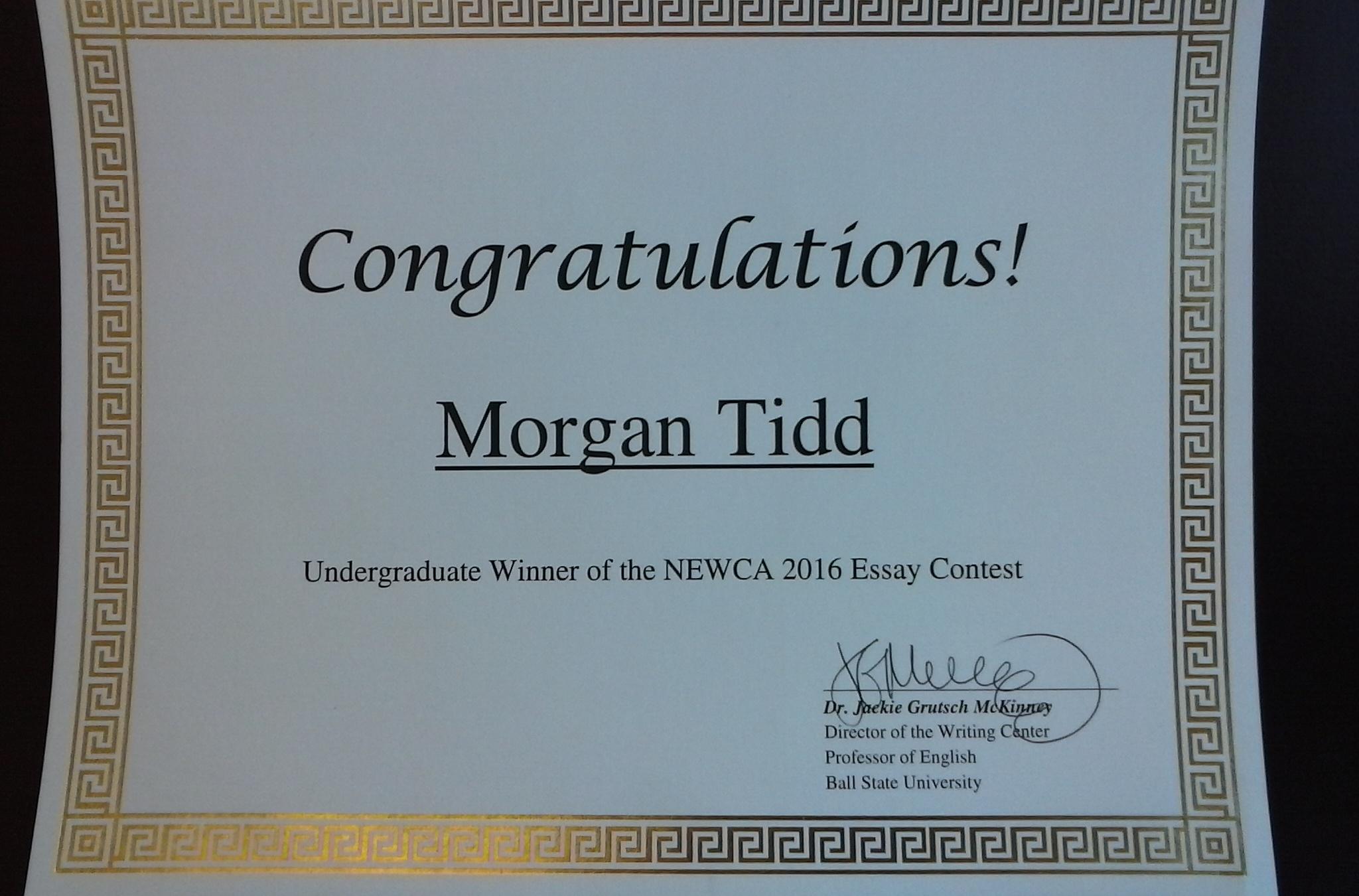 Certificate for Morgan Tidd