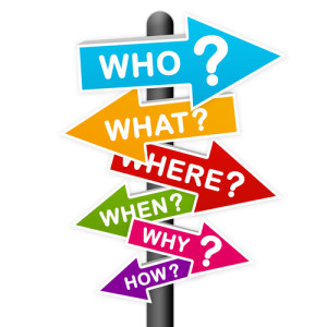 Sign post of who, what, where, when, why, how