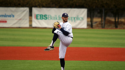 photo of baseball player, Justin Courtney, pitching