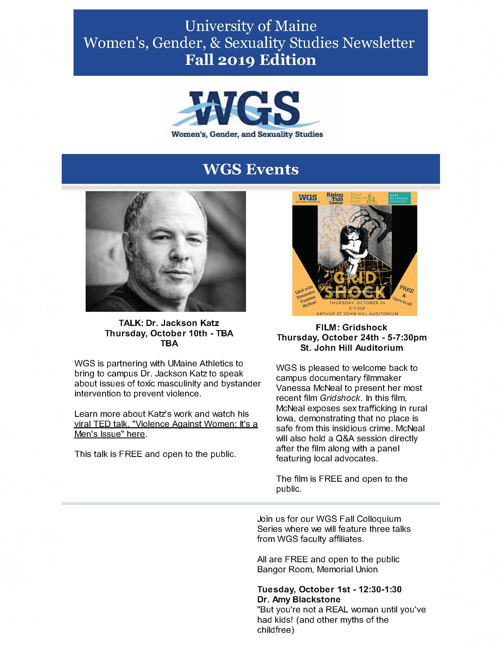 Fall 2019 WGS Newsletter - Women's, Gender, and Sexuality
