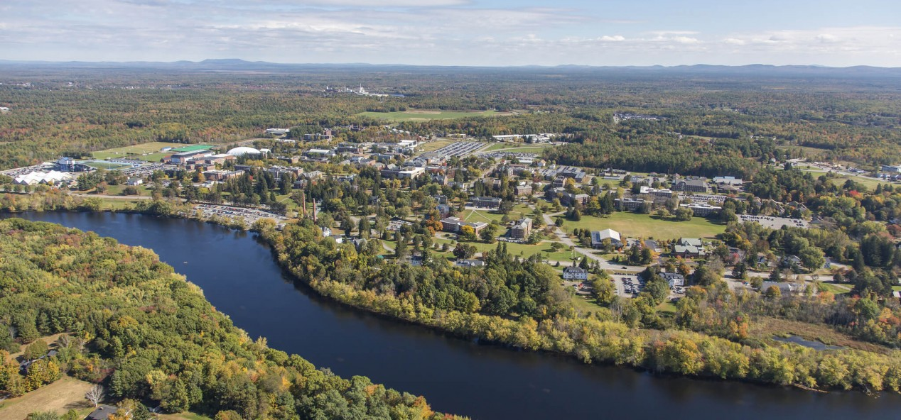 University of Maine campus aerial photo, taken in October 2014