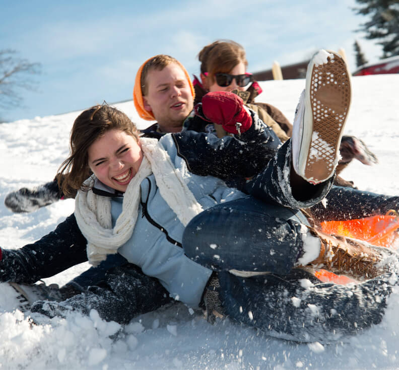 Students sledding