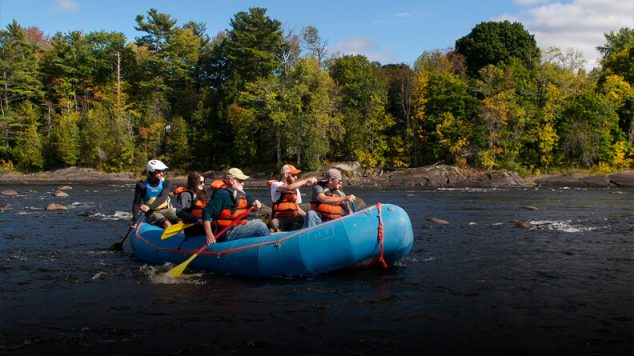 Students rafting on the Penobscot River