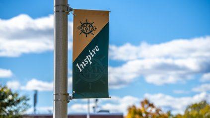 Flagpoll banner at Machias campus