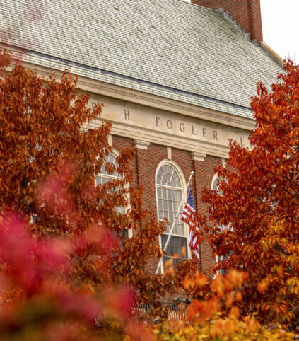 Fogler Library in the fall