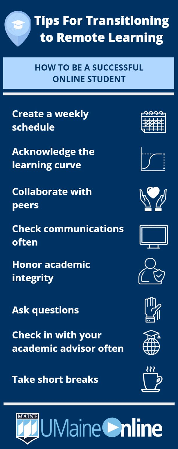 Tips for transitioning to remote learning infographic