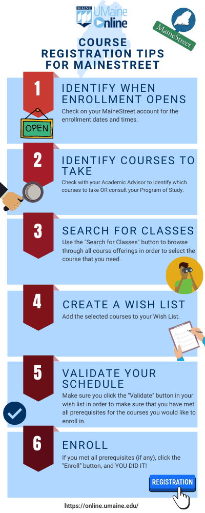 course registration tips for mainestreet