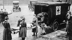 Spanish Flu victim on stretcher