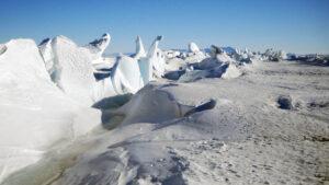 Sea ice pressure ridge off the Antarctic coast.